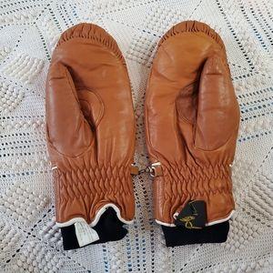 Vintage 70's brown leather Ski Master mittens